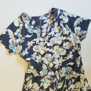 Soft Surroundings Lg Dress Floral Faux Wrap Stretc